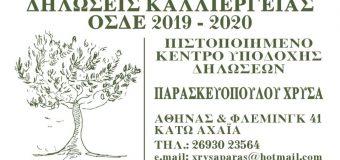 Παρασκευοπούλου Χρύσα: Δηλώσεις Καλλιέργειας ΟΣΔΕ 2019-2020